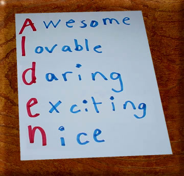a real object, a seasonal word, etc. to create an acrostic poem.